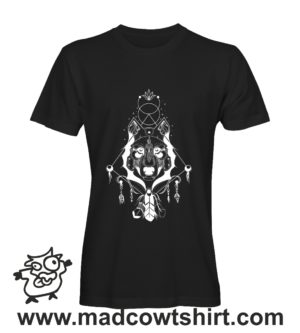 033 lupo indiani tshirt nera uomo