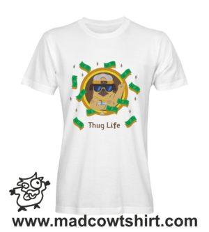 040 thug life tshirt bianca uomo