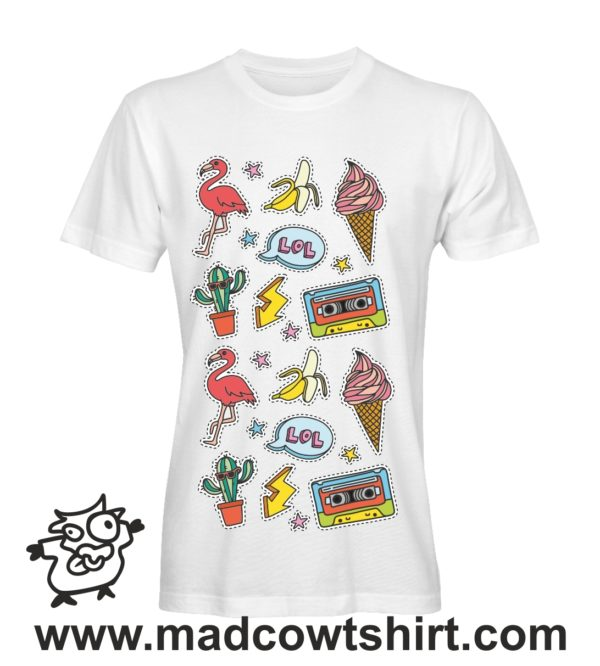 054 sticker tshirt bianca uomo