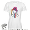 0181 rainbow unicorn tshirt bianca uomo