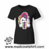 0181 rainbow unicorn tshirt nera donna