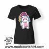 0182 cry unicorn tshirt nera donna