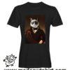 0232 funny cat paint tshirt nera uomo