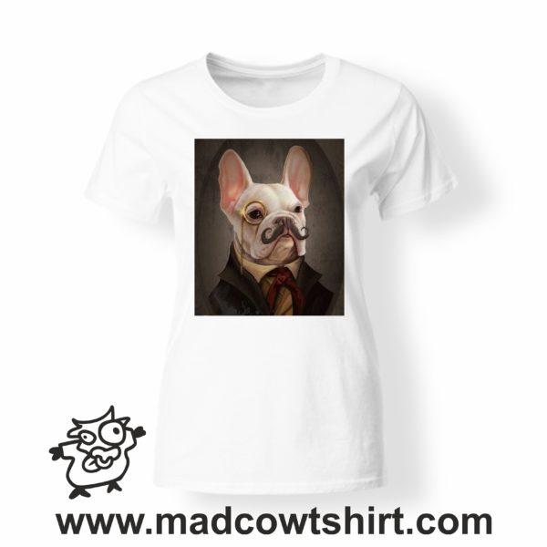 000244 funny monocle french bulldog paint T-shirt Uomo Donna Bambino 3