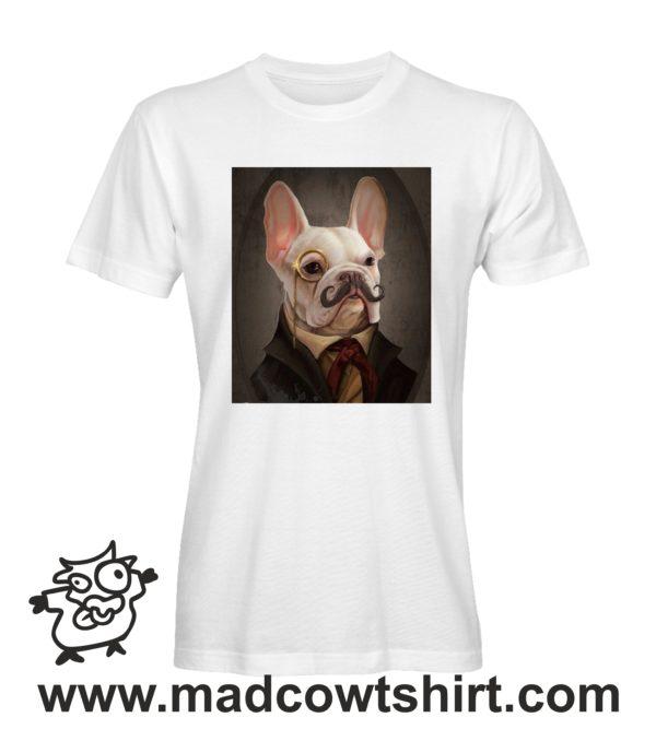 000244 funny monocle french bulldog paint T-shirt Uomo Donna Bambino 1