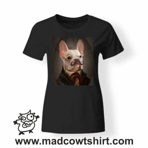 000244 funny monocle french bulldog paint T-shirt Uomo Donna Bambino 4