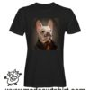 0244 funny monocle french bulldog paint tshirt nera uomo
