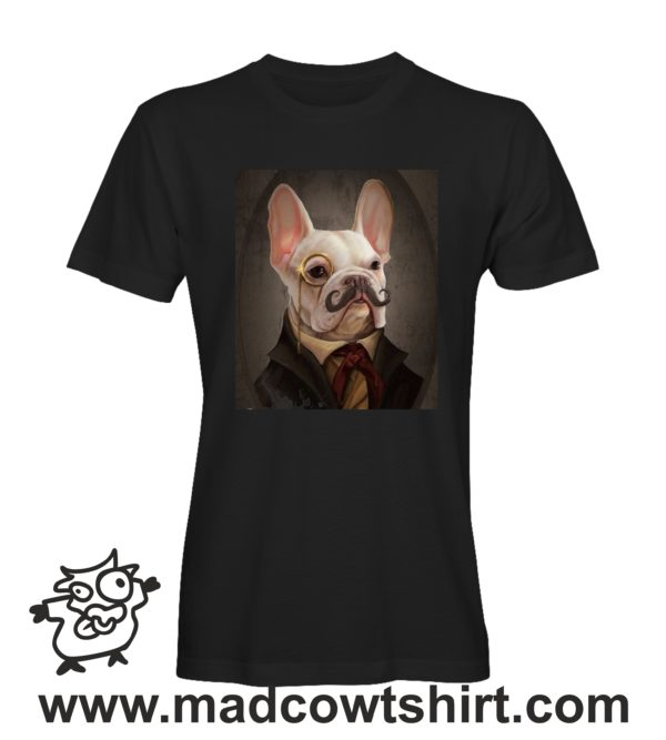 000244 funny monocle french bulldog paint T-shirt Uomo Donna Bambino 2